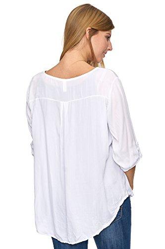 Jillymode Elegante Damen Tunika Rundkragen einfarbig Arm Aufschlag A1007 Weiß