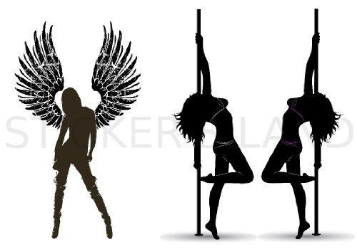 STICKERS DÉCORATIFS POLE DANCE pré-découpés (Planche à stickers DIMENSIONS 30x42cm en PAPIER ADHESIF TRANSPARENT)
