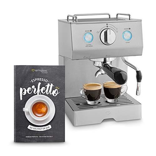 Edelstahl Espressomaschine Emilia inkl. Espressoanleitung von Springlane Kitchen Siebträger-Espressomaschine Kaffeemaschine inkl. Milchaufschäumer-Funktion und Tamper, 15 bar Pumpendruck!
