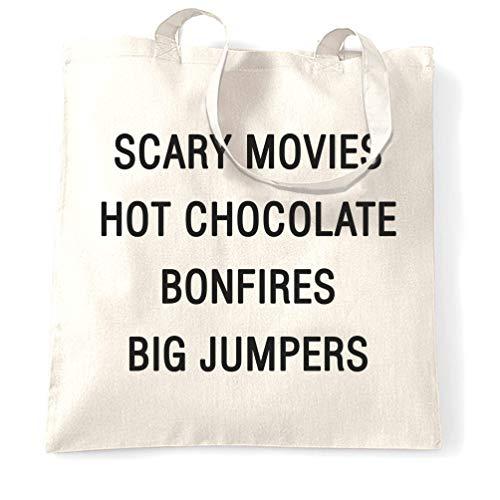 Tim And Ted Herbst Tragetasche Scary Movies, Hot Chocolate, Bonfires White One Size (Halloween Nerd Für Mädchen Ein)
