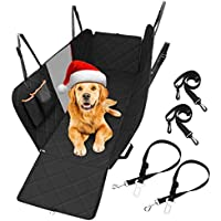 Dog Seat Cover with Mesh Viewing Window, TOPELEK Dog Car Seat Cover with 2 Seat Belts ,  2 Storage Pocket , Waterproof  Dog Travel Hammock with Nonslip Backing and Seat Anchors for Cars Trucks,SUVs