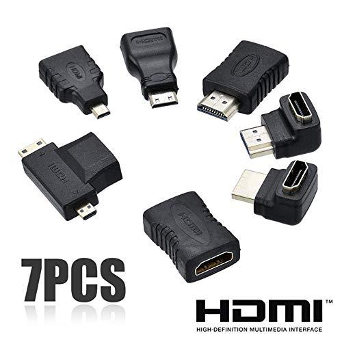 7pcs 2 in 1 HDMI Adapter-Kit Qualitäts-HDMI-Mini-Micro Adapter Extender Converter Steckverbinder Kits für HDTV, 0.5m 1080p-hdtv-extender-kit