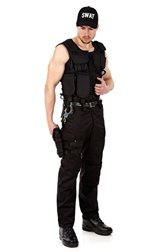 T POLICE SECURITY FBI Set aus Taktischer Weste, Einsatzhose, Handschellen, Pistolenbeinholster und Baseballcap SWAT XL (Taktische Weste Kostüm)