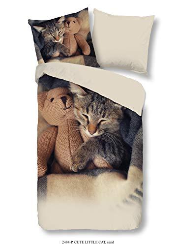 Aminata Kids - Kinder-Bettwäsche-Set 135-x-200 cm Katze-n-Motiv Haus-Tier 100-{1bc8405f4cdb4036d49b8679a039381d098eac04f9946cb733477468336e9419} Baumwolle Renforce beige