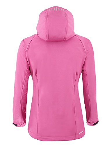 Jeff Green Damen Winddichte Wasserabweisende Softshell Jacke Kapuze New Jade Red Cabbage