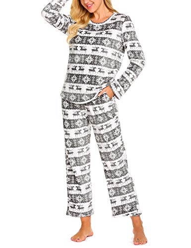 MAXMODA Damen Schlafanzug Korallen Warm Schlafynzug Elch und Schneeflocke Streifen Flanell Pyjama Zweiteiliger Langarm Nachtwäsche Winter Grau L - Streifen-flanell-pyjama