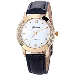 Tonsee Fashion Women Diamond Analog Faux Leather Quartz Wrist Watch Watches
