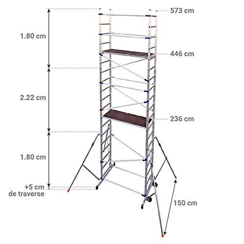 Echafaudage domestique: 6.46m haut. travail max