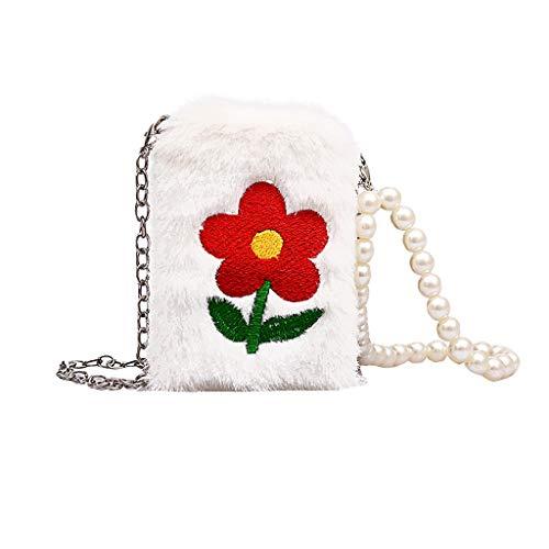 Chain Handle Bag (Damen Handtasche Plüsch Blume Perle Umhängetasche Handytasche Kosmetiktasche Crossbody Kinder Brieftasche Mädchen Student Messenger Bag Elegante Tasche Geldbörse Schultertasche Party)