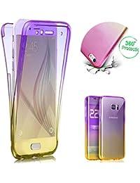 Klar TPU Hülle für Galaxy S9,Silikon Hülle für Galaxy S9,Moiky Stilvoll Einzigartig Ultra Dünn 360 Grad Vorder und Rückseiten Lila Gelb Gradient Durchsichtig Ganzkörper Koffer Schutzhülle
