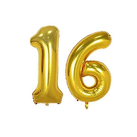 NUOLUX Folienballon Zahlen Luftballon Buchstabe Ballons Romantische Party Geburtstag Jahrestag Dekoration 40 Zoll (Gold)