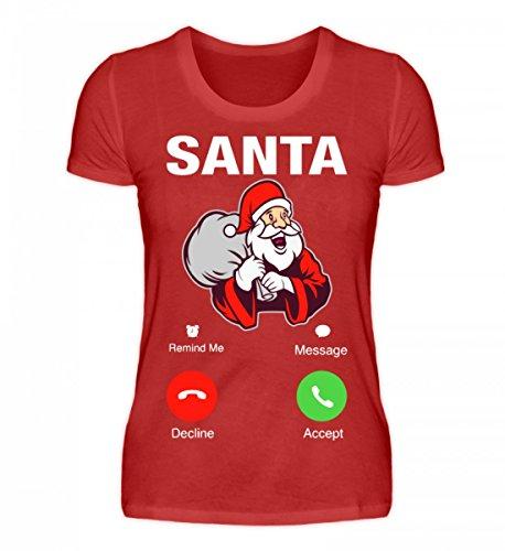 Hochwertiges Damen Premiumshirt - Weihnachten Geschenk Santa Calling Rot