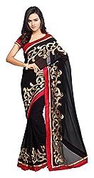 Aruna Sarees Womens Chiffon Saree with Blouse Piece (Black and Red)