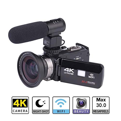 AUTOECHO 4K-Videokamera-Camcorder Ultra-HD-Digital-WiFi-Kamera 30,0 MP 7,6 cm Touchscreen 16-fach-Digitalzoom-Recorder mit Lithium-Akku