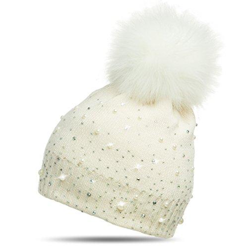 CASPAR MU143 Damen Fein Strick Winter Mütze mit Fellbommel, Farbe:creme weiss;Größe:One Size