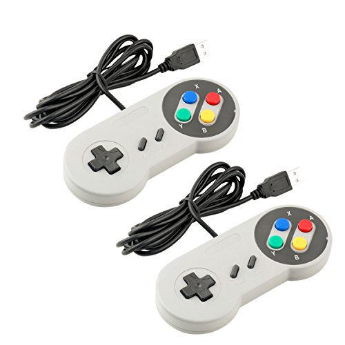 Exlene® Super Game Controller SNES USB Gamepad clásico [Pack 2] para PC Juegos de MAC para Win98 / ME / 2000/2003 / XP / Vista / Windows7 / 8 / Mac os [Super Nintendo] (Blanco)