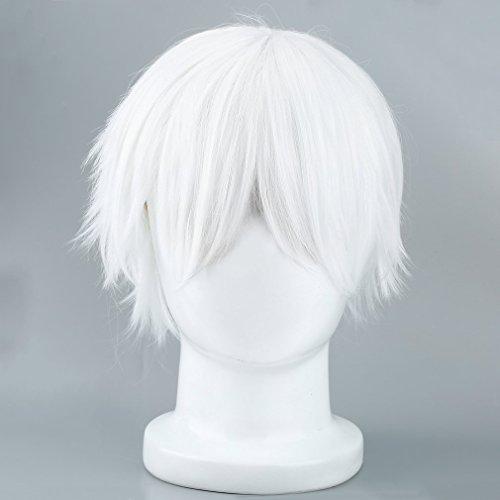 Männliche weiße Perücke für Cosplay Anime Charaktere gerade kurze synthetische Perücken