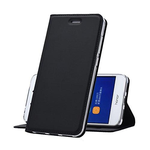 Huawei P8 Lite (2017) Hülle Schwarz - MUKUTECH Handyhülle [Magnetverschluss] [Ultra Slim] Cover Schutzhülle mit Kartenfach, Ständer und TPU Innenschale, Bookstyle Case für Huawei P8 Lite (2017) (Mikrofaser-hybrid-jacke)