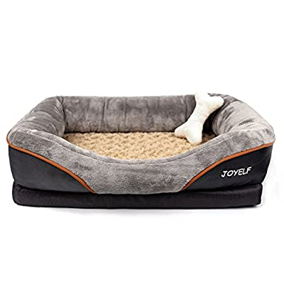 JOYELF Memory Foam Dog Bed,Orthopedic Dog Bed & Sofa with Removable Washable Cover and Squeaker Toys as Gift by JOYSTAR