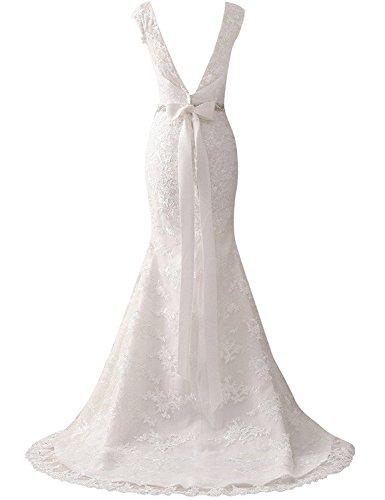 JAEDEN Donna Maniche berretto Sirena Abiti da sposa Lungo Senza schienale Pizzo Abiti da Matrimonio Bianco
