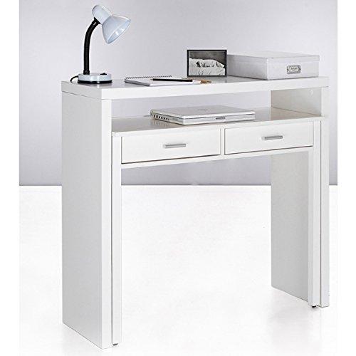 Mesa escritorio desplazante blanco brillo para estudio, oficina o habitacion 98cm