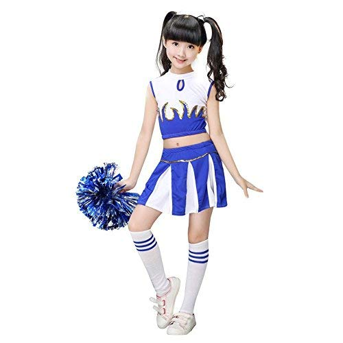 G-Kids Mädchen Cheerleader Kostüm Kinder Cheerleader Uniform  Karneval Fasching Party Halloween Kostüm mit 2 Pompoms Socken (Blau, Köpergröße (Blauer Cheerleader Kostüm Kinder)