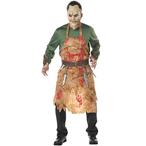Metzger Blutige Kostüm - GJ688 Halloween Kostüm Bloody Butcher Kleidung Chef Charakter Kostüme Herren Zombie Horror Schürze Kostüm