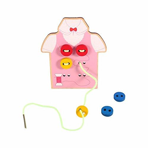 Holz Hemd zum Nähen lernen / Knopf annähen Fadenspiel Geduldspiel für Kinder ab 4 Jahre bunt (Pink)