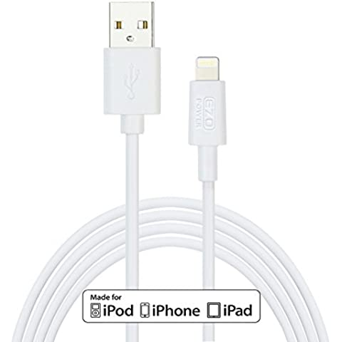 EZOPower Cable Blanco Mfi 8-Pin Lightning a USB Sincronización de Datos y Carga de 3 metros: Compatible con Apple iPad Air / iPad 4 / iPad Mini with Retina Display / iPad Mini / iPhone 6 4.7