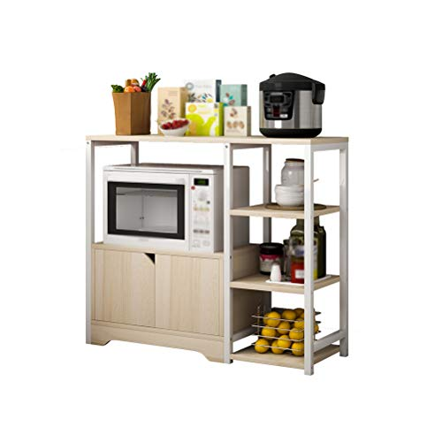 Kitchen furniture - Type de plancher de maison de compartiment de stockage de cuisine de support de four à micro-ondes Étagère multicouche WXP (Couleur : Maple cherry wood)