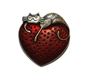 Lazy Cat resting on Red Heart Brooch Pin in Brass Tone (Supplied in a Gift Pouch) Unique Jewellery