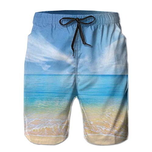 Men Swim Trunks Beach Shorts,Sand Beach In Summer at A Hot Island with Clean Sky Blue Sea XXL -