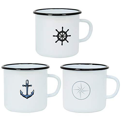 echer aus emaliertem Stahl in 3 verschiedenen maritimen Designs (03 Stück - Tassen) ()