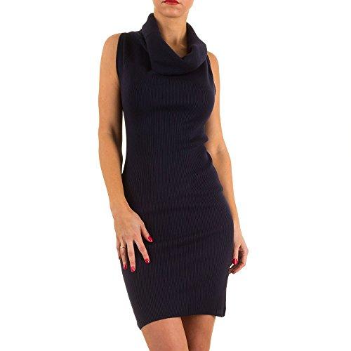 Geripptes Cocktail Mini Kleid Für Damen bei Ital-Design Dunkelblau