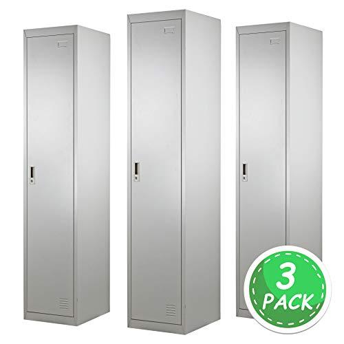 Brigros ® armadio spogliatoio 1 anta 180 x 38 x 45 (3 pack) con serratura e specchietto interno