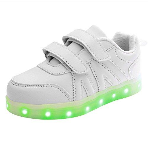 LED 7 Colori Cambi- Sneaker Scarpe Unisex Bambini Bambina Collo Basso con Velcro, Presa USB Ricarica Sport Regali Originali Compleanno Natale Ragazza Ragazzi Scarpe Piatte