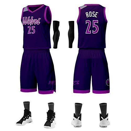Z-ZFY Männer Frauen NBA Jersey -Minnesota Timber # 6 Derrick Rose Kleidung Klassisches Ärmel Kinder Top T-Shirt,Xl170cm/50~60kg