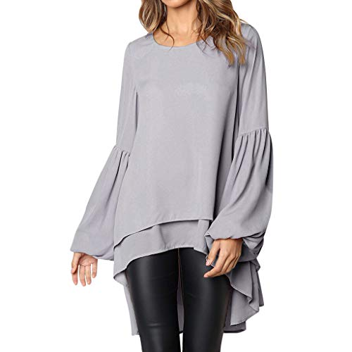 ❤ Mode Femme Casual Couleur Unie Col Rond Asymétrique Ourlet Manchon de Cloche Slim Chic Tricoté Pullover T Shirt Tops Simple Blouse Long Robe en Vrac feiXIANG