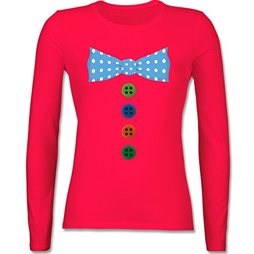 Karneval & Fasching - Clown Kostüm Blaue Fliege - tailliertes Longsleeve / langärmeliges T-Shirt für Damen Rot