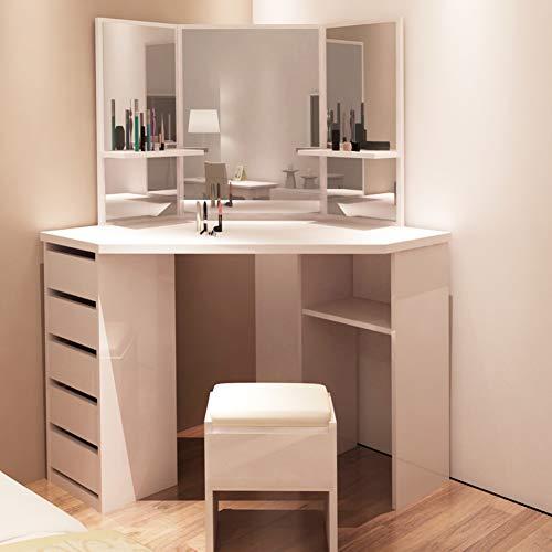 TUKAILAI Weiß Eckschminktisch mit Hocker und Spiegel Frisierkommode Frisiertisch Kosmetiktisch mit 5 Schubladen Schlafzimmer Möbel - Schlafzimmer-möbel-zubehör