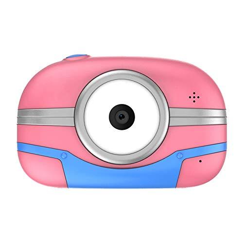 YXCM Kinder Digitalkameras Mit 2,4-Zoll-TFT-Bildschirm P8 Mini HD DSLR Doppelobjektiv wasserdichte Karikatur WiFi Kinder Kamera Ausgerüstet,Rosa