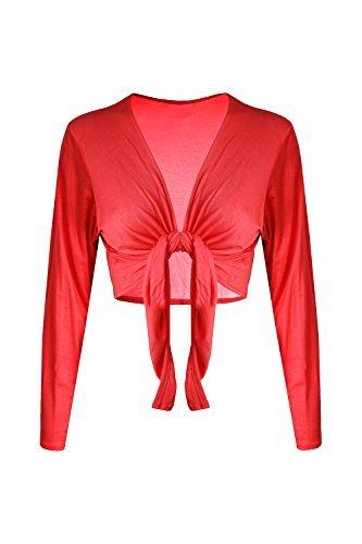 Trendy-Clothings Boléro à manches longues en Jersey Cardigan court pour boléro nouettes - Red - Bolero Front Open Cardigan Boyfriend
