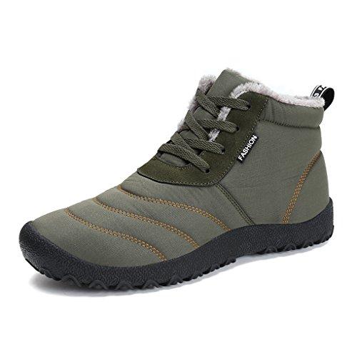 Maniamixx Herren Damen Wasserdichte Schneeschuhe Warme Casual Stiefel Outdoor Schuhe für Winter High-Top Schnüren Rutschfeste Schuhe(Grün,44 EU) (Männer Wasserdicht Winter Für Stiefel)