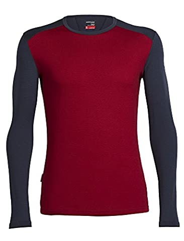 Icebreaker Men Tech Top Long Sleeve Crewe Base Layers, Oxblood/Stealth/Stealth, Large