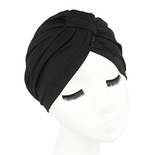 Abdeckung Hut, Mütze, (QHGstore Frauen-Soild-Farbhaar-Verpackungs-Abdeckung Indische Turban-Hüte Kappen von Modal schwarz)