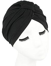 QHGstore El abrigo de pelo de color de Soild de las mujeres cubre encima de sombreros indios del turbante Casquillos de Modal negro