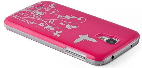 JAMMYLIZARD | Schmetterling & Blumen Back Cover Hülle für iPhone 5 und 5S, WEIß KNALLROSA