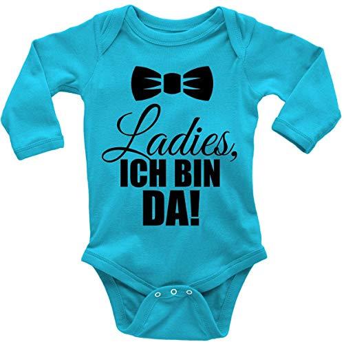 Mikalino Babybody mit Spruch für Jungen Mädchen Unisex Langarm Ladies, ich Bin da! | handbedruckt in Deutschland | Handmade with Love, Farbe:Atoll, Grösse:62