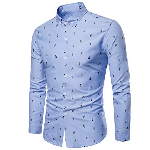 Luckycat Herren Herbst Casual Fashion Slim Fit Baumwolle Print Langarm Shirt Top Bluse Mode 2018