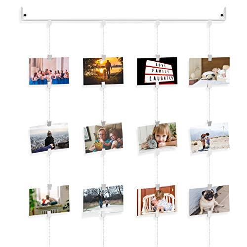 Fasthomegoods Zum Aufhängen Foto Organizer Schiene mit Ketten und 32Clips Art Deco 29.5